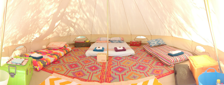 HG - 5m bell tent, panoramic interior, family of four with cooking kit - SMALL